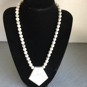 Jewelry - White Howlite statement necklace with pendant